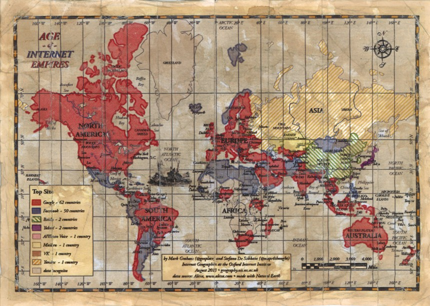 Weltkarte des Internets im Jahr 2013 (Lizenz: CC-BY-NC, Foto: Oxford Internet Institute), Quelle: suedddeutsche.de vom 6. Oktober 2013